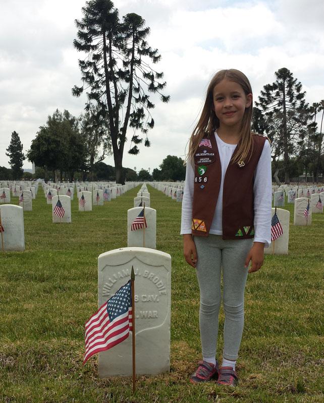 Great-granddaughter Lilli Farrar honoring his grave - Memorial Day 2015