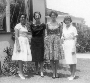 Me with college friends in our dresses, nylons and heels - 1961