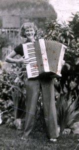 Mom with her first accordion