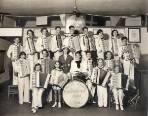 Mom and her accordion band - 1936