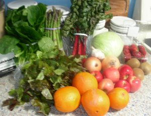 contents of first CSA food box